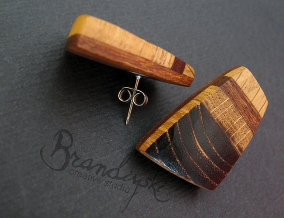 WOODEN EARRINGS - Original Handmade Wooden earrings - oak, cherry wood and mahagon