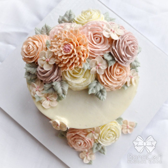 Floral/Flower Buttercream Cake 6: Crescent Style