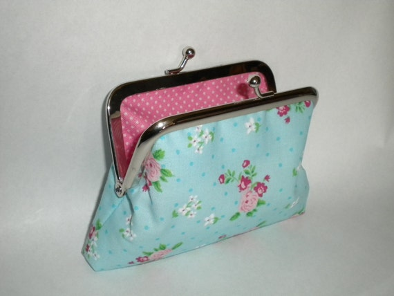 """Blue shabby chic kiss lock 4"""" coin purse - made with cath kidston pink rose and polka dot fabric"""