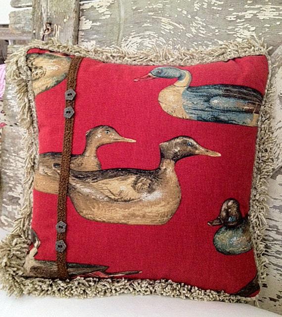 Duck Decoy Pillow in Red