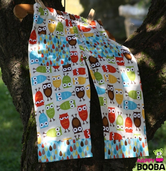 Funny Owls BABY BOY PANTS for your little rascal. Size: 18-24 months. This pants will grow with your little boy  as having roll up cuffs.