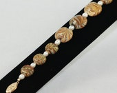 Bracelet of Mosaic Swirls with Beige and Cream White Pearls