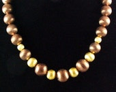 Brushed Silver Tones of Gold and Brown Necklace
