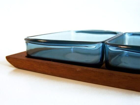 RSERVED Y.K. // Vintage // Holmegaard // Cabaret // Kabaret // Teak tray and blue glass bowls // Danish modern // Denmark