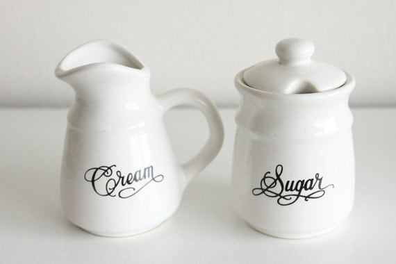 Vintage Sugar and Creamer Set Black and White
