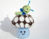 Stuffed mushroom toy with caterpiller friend in chocolate dot and turquoise fleece