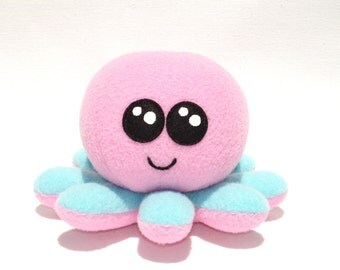 Stuffed octopus baby plushie toy with pink and turquoise fleece