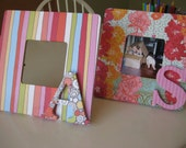 """MADE TO ORDER Decoupaged 8"""" Square Wood Picture Frame with Designer Papers and Customizable Letter"""