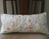 RESERVED FOR RAJALU: Pair of Decorative crewel floral linen and cotton lumbar pillow cover in muted butter yellow and leaf green