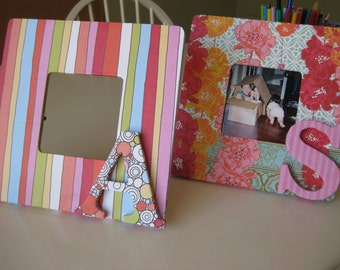 "MADE TO ORDER Decoupaged 8"" Square Wood Picture Frame with Designer Papers and Customizable Letter"