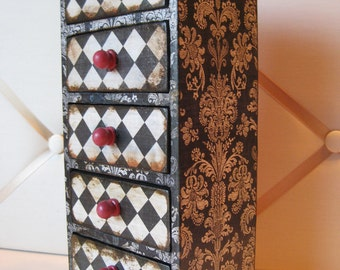 MADE TO ORDER Decoupaged Black White Harlequin Damask Wooden Jewelry Box Chest with Drawers with Pink Accents