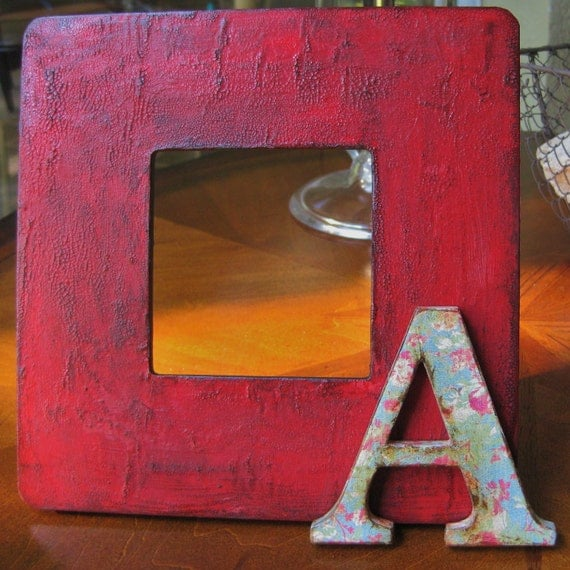 MADE TO ORDER Customizable Decoupaged Wood Picture Frame with Distressed crackle red and Coordinating Alphabet Letter distressed blue floral