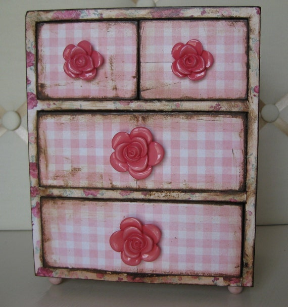 Shabby Chic Decoupaged Wooden Jewelry Box Chest of Drawers Pink and White gingham Pink Floral Rose Knobs