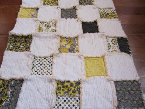 Baby Girl Rag Blanket Chenille Yellow Black Floral
