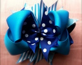 Polka dot and Stripe Blue and turquoise Boutique style hair bow