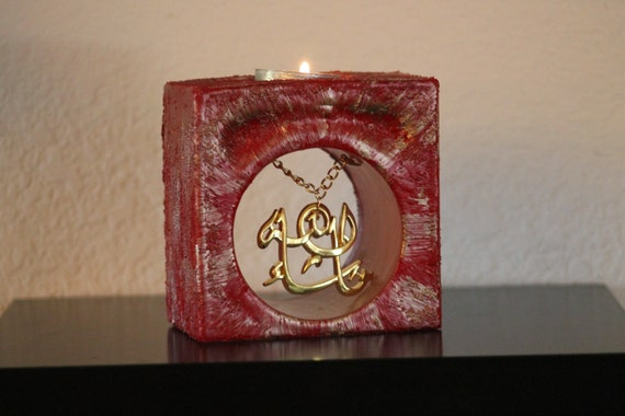 unique red and golden square wax candle with arabic thanks God medal