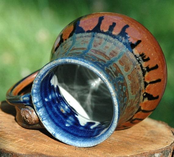 Stoneware MUG with Brown Glaze with Blue Ash