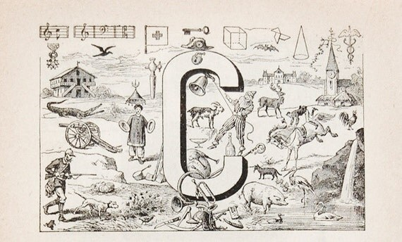 Antique French Dictionary Page - Initial - The Letter C Page - Alphabet - Original Engraved Lithograph 1937