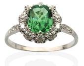 Vibrant Green Cushion Cut Tsavorite Garnet encircled by Old European Diamonds. 18 CT White Gold. Luscious.