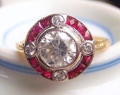 RESERVED for FERNANDO. Natural Rubies, 4 Brilliant Cut Diamonds and Cubic Zirconia. Classic Deco Style.