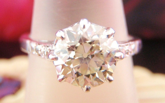 Reserved For Danielle. Big and Exquisite. Impressive 1.55CT Solitaire Old European Diamond Vintage Engagement Ring.