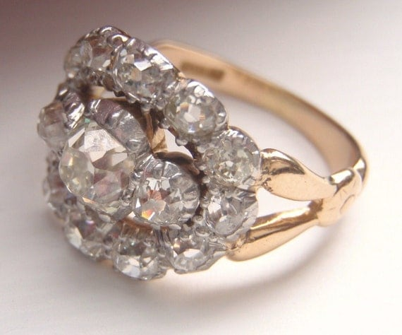 Old European Cushion Cut Diamond Cluster Ring. Drop Dead Gorgeous Vintage Engagement Ring.