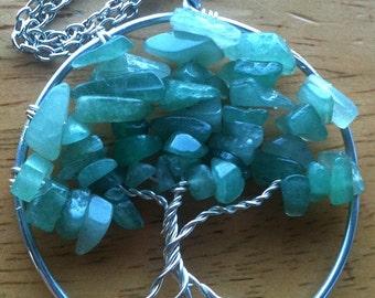 Green Adventurine Tree of Life Pendant Necklace