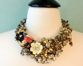 SALE - Vintage Gold bib statement necklace with lady bug