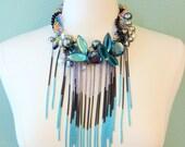 Blue Gemstone Pearl Fringe Bib Statement Necklace
