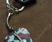 Guitar on Red White & Blue Genuine Guitar Pick w/ Snake Chain Keyring/Keychain