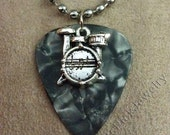 Drums/Drum Kit on Gray/Grey Pearl Genuine Guitar Pick Necklace