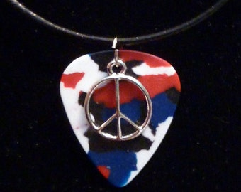 Peace Sign on Red, White, & Blue Confetti Guitar Pick Necklace