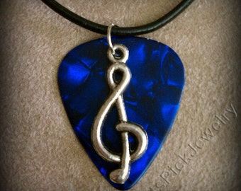 Treble Clef on Blue Pearl/Pearloid Genuine Guitar Pick Necklace