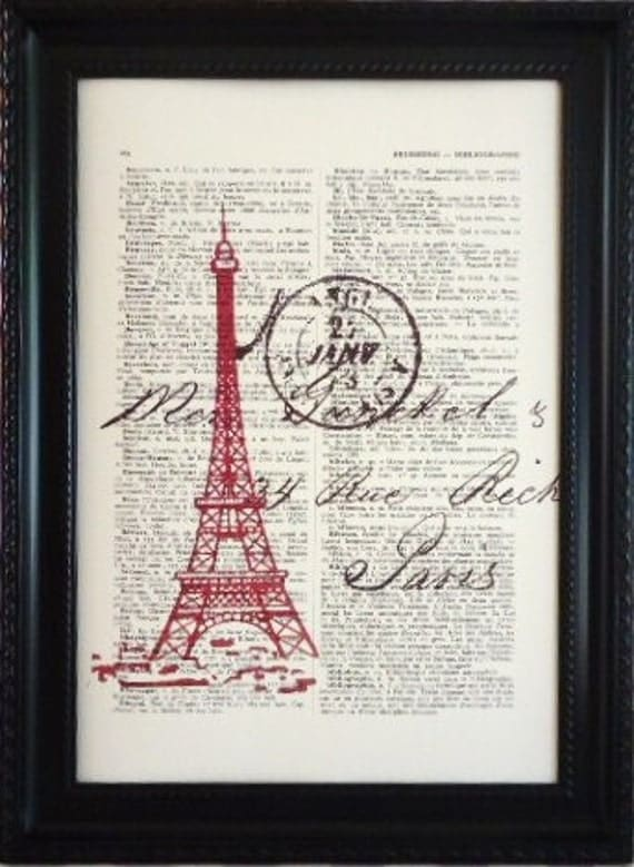 Paris red Eiffel tower romantic print on a vintage french dictionary page, dictionary print for your wall (8)