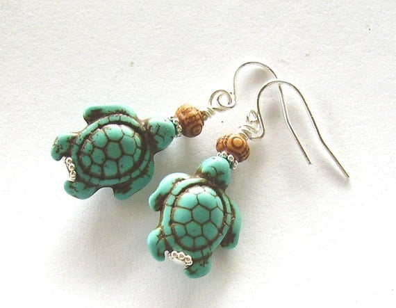 Turquoise Turtle Earrings - Silver and Turquoise