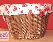 Red Polka Dot & heart Reversible Bike Basket Liner - Shop bag - MADE TO ORDER