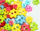 A-008  /  Tiny Flower buttons / size : 8 mm. , 6 mm. , 4 mm. / 100 pcs (Come with box) / mixed colors