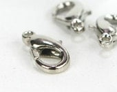 D-001 / Silver Plated Lobster Claw Clasps /  50 pcs /  12mm. x 6mm.