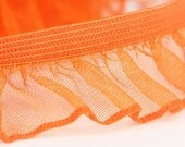 B-028  / 1 yard of  elastic Lace / Color : OrangeRed