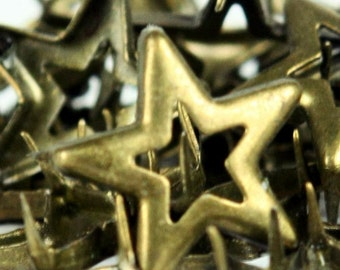 C-013 / Star  Studs /  100 pcs /  1.4 cm. / Color - Metal  Antique Brass