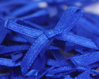 B-017  / Little Satin Ribbon Bows / 100 Pcs / Color - Dark Blue / Size : 2-3 cm.