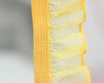B-026  / 1 yard of  elastic Lace / Color : Mustard