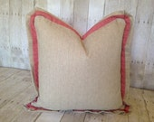"""CORAL CORAL:  Linen & Coral Linen  20"""" X 20"""" Accent Pillow Cover"""