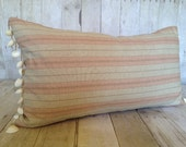 "CORAL CORAL:  Linen Stripe & Sea Shell Trim, 26"" X 14"" Down Accent Rectangular Bolster Pillow"