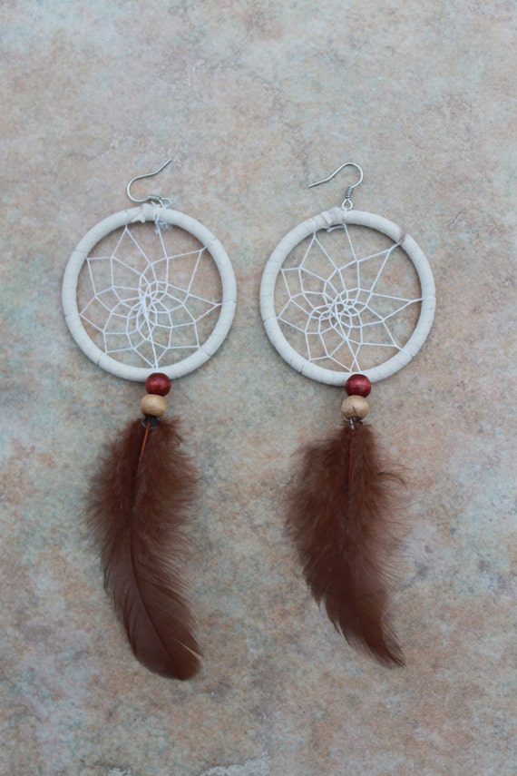 White Handmade Dream Catcher Earrings
