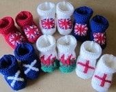 Baby Diamond Jubilee hand knitted booties - many sizes - U.K - England - Scotland - Wales / United Kingdom / Patriotic flag