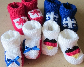 Baby Canada - Québec - France - Germany hand knitted booties - Many sizes  - Patriotic flag