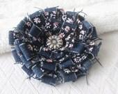 Denim Fabric Flower, Fabric Corsage, Floral Pin, Urban Daisy Design