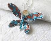 Butterfly Pendant Necklace, Friendly Plastic Jewellery, Butterfly Accessory, Fashion Brooch, Blue Butterfly