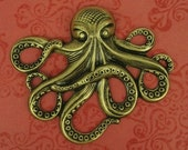 1 Large Octopus Pendant Stamping - Charm - Ox Brass - 64x50mm